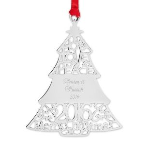 Engraveable Silver Christmas Ornament - Great for new homeowners or a newly wedded couple. Plus, use the code A100 to get 22% off and free shipping!