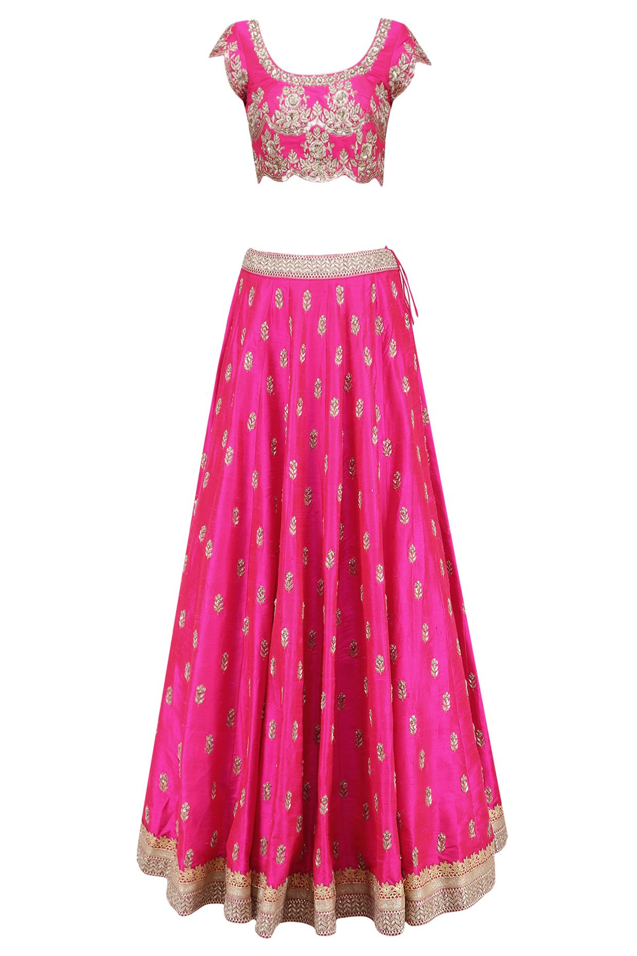 Pink floral bootis embroidered lehenga set with light pinkdupatta ...