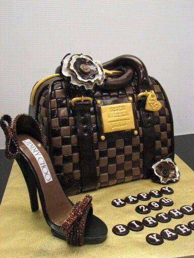 b0b9de36863 Louis Vuitton handbag and Jimmy Choo shoe fondant cake