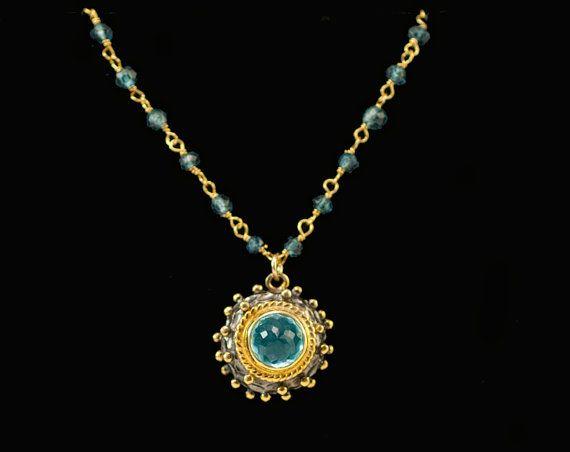 Blue Topaz Necklace  December Birthstone Necklace   by delezhen, $75.00