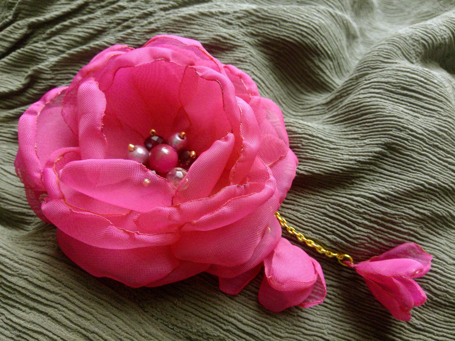 Pink chiffon flower fabric flower brooch flower hair clip fuchsia a bright pink chiffon flower for a little princes or a young girl the mightylinksfo