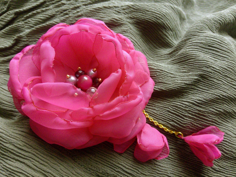 Pink Chiffon Flower Fabric Flower Brooch Flower Hair Clip Fuchsia