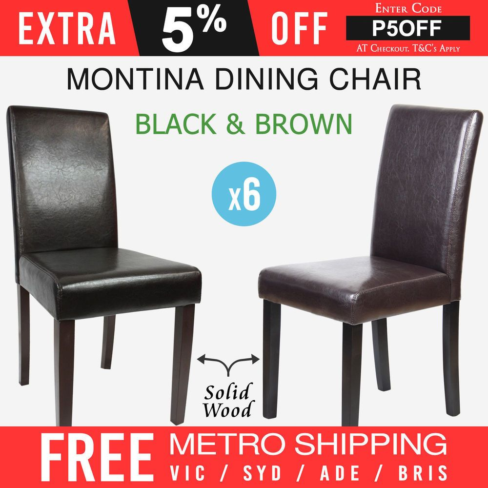 Dining Chair 6x Faux Leather Black Brown Back Rest Solid Pine Wood Legs Montina Dining Chairs Dining Chairs Leather Seat Cheap Dining Chairs
