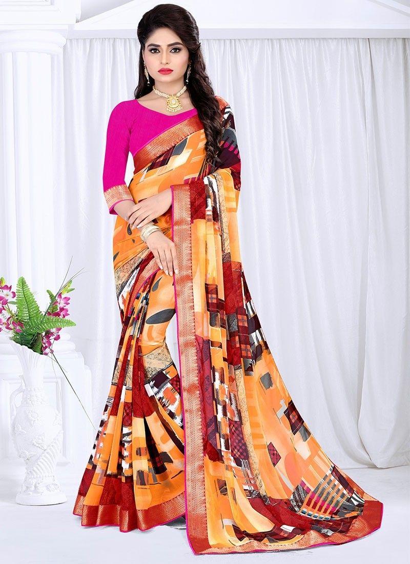 Peach color saree for wedding shop online multi color georgette casualsaree  casual sarees
