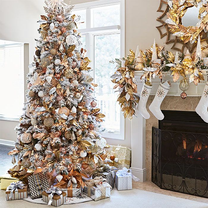 artificial flocked tree with metallic copper silver gold and pink mercury glass ornaments - Copper Christmas Decorations