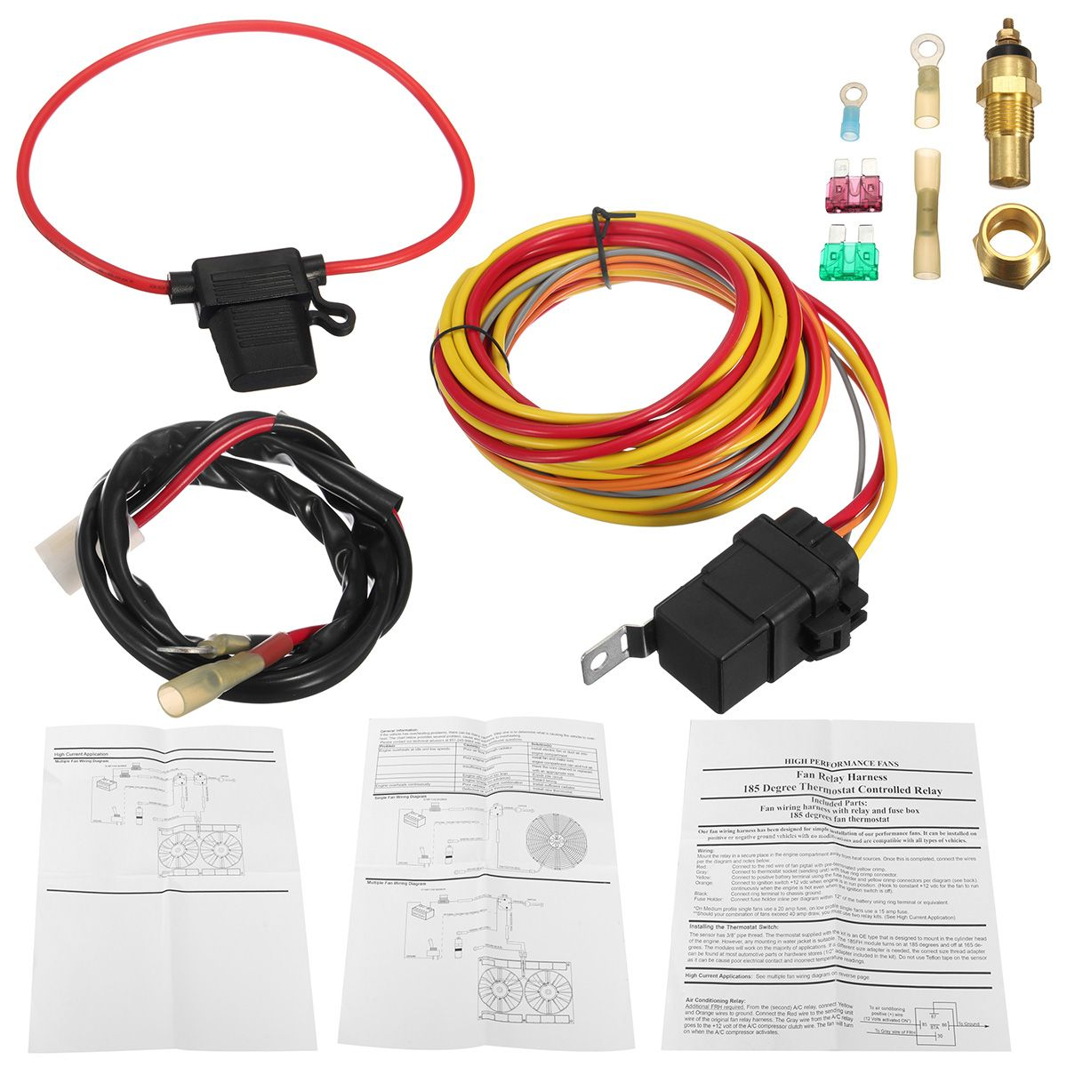 small resolution of heavy duty dual electric fan 40 amp relay wiring harness thermostat sensor kit