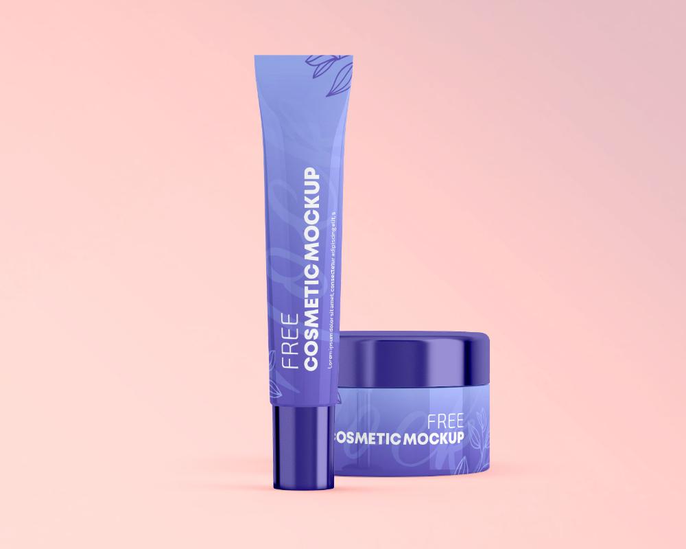 Free Cosmetic Plastic Cream Tube & Jar Mockup PSD