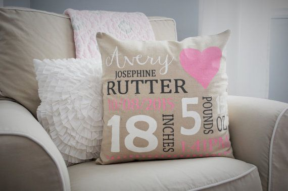 Personalized Birth Pillow Cover Birth Announcement Pillow