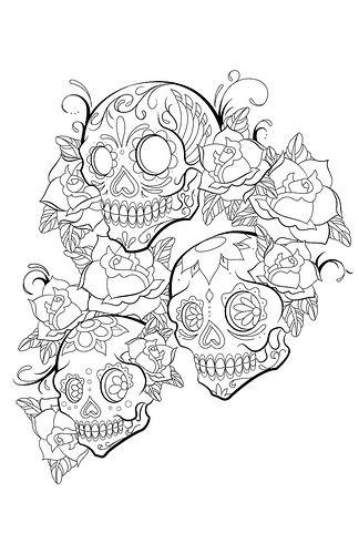 Sugar Skulls Tattoo Love It Design By Jeremykylebrown Via Flickr Skull Tattoo Design Skull Coloring Pages
