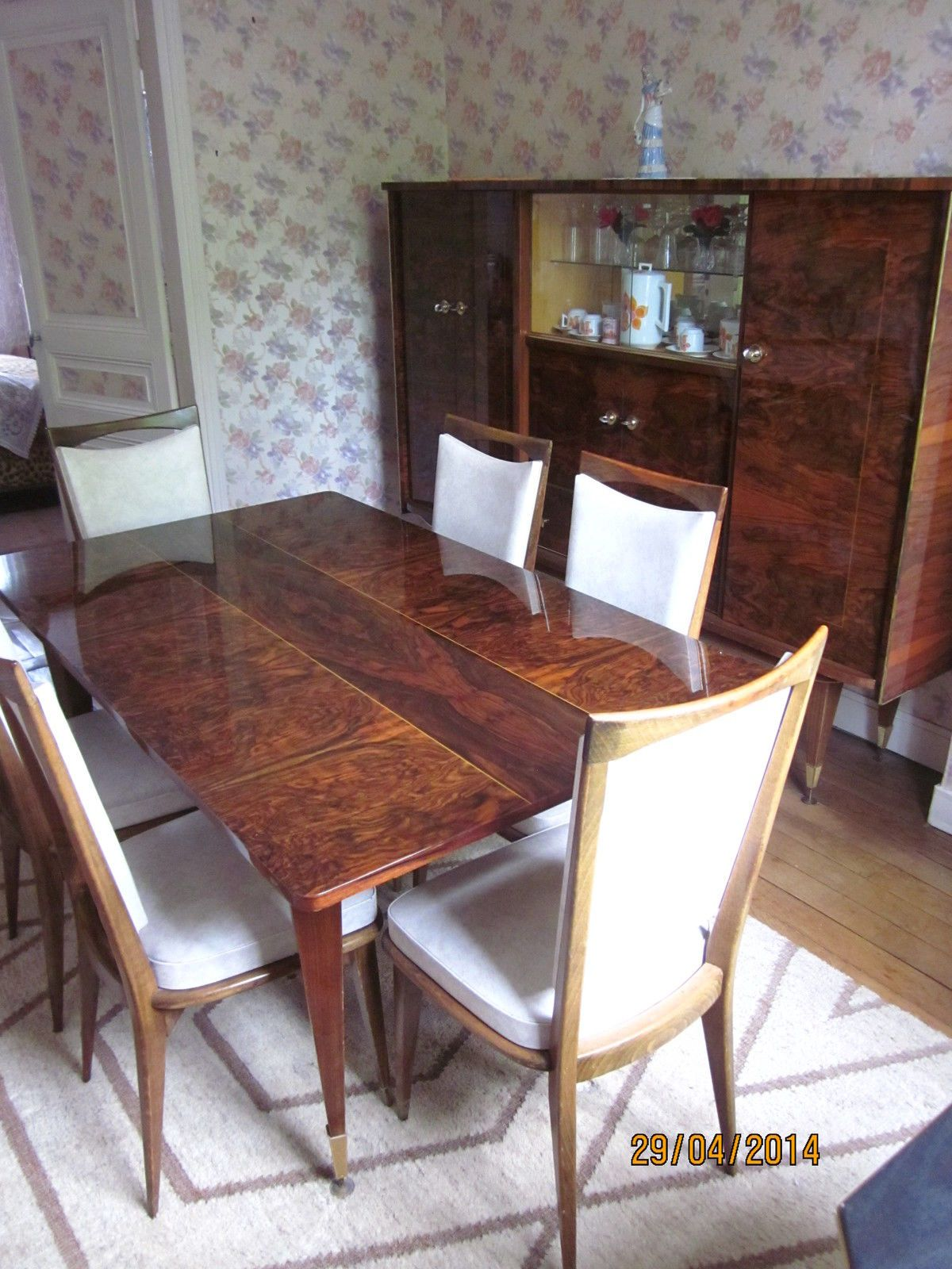 salle a manger ann es 70 en louppe d 39 acajou vernis ebay. Black Bedroom Furniture Sets. Home Design Ideas