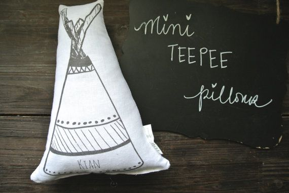 Personalized Name Pillow, Personalized Teepee Pillow, Mini Teepee Pillow, Tepee Pillow, Nursery Pillow, Tribal Decor, Linen Teepee Pillow