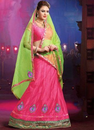 Angelic Pink Green Net Satin Designer Lehenga Choli http://www.angelnx.com/
