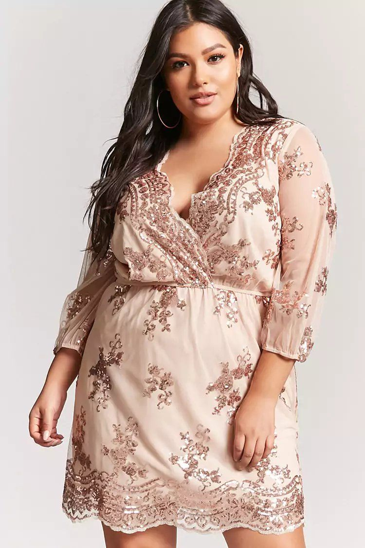 ae7fb656487 Plus Size Rose Gold Sequin Dress - Plus Size Party Dress – Plus Size  Cocktail Dress  plussize