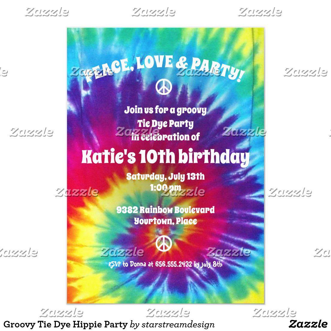 Groovy Tie Dye Hippie Party Invitation Zazzle Com Hippie Party Hippie Birthday Party Party Invitations