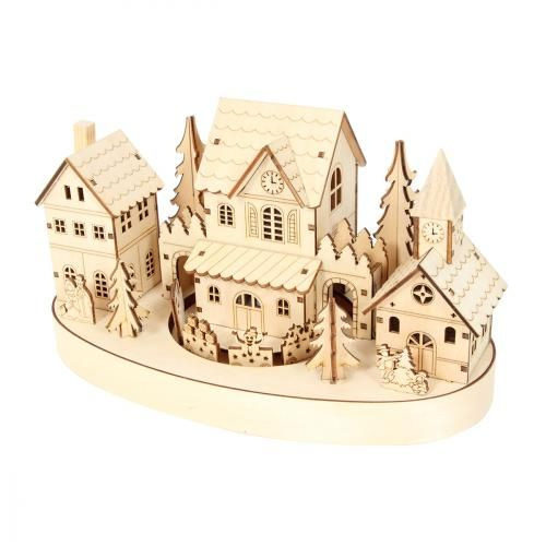 village de noel en bois Crèche Noël Décoration lumineuse Village de bois + Train bois  village de noel en bois