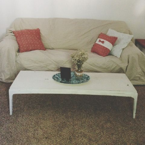 Drop cloth couch cover Shabby chic look for half the price of a