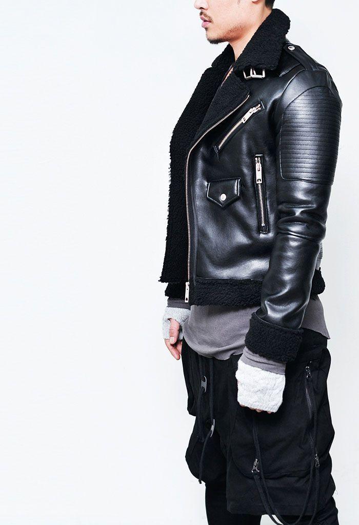Outerwear    Leather Jackets    Badass Shearling Belted Biker-Leather 72 -  Mens · Kožené Bundy f35053a243d