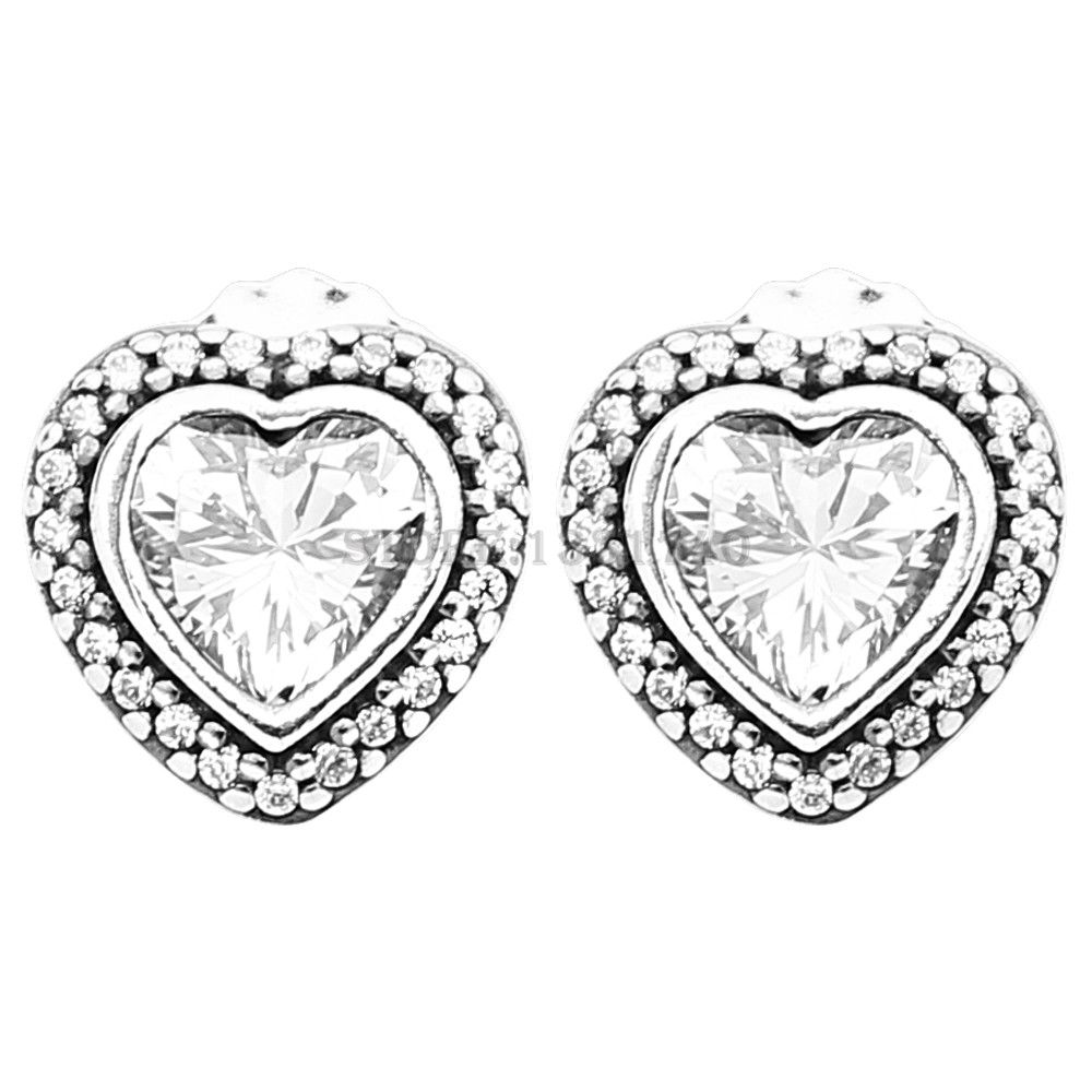 529e9b13a Compatible with Sparkling Love Heart Stud Earrings With Clear CZ Original  925 Sterling Silver Earrings DIY Whole //Price: $28.49 & FREE Shipping ...