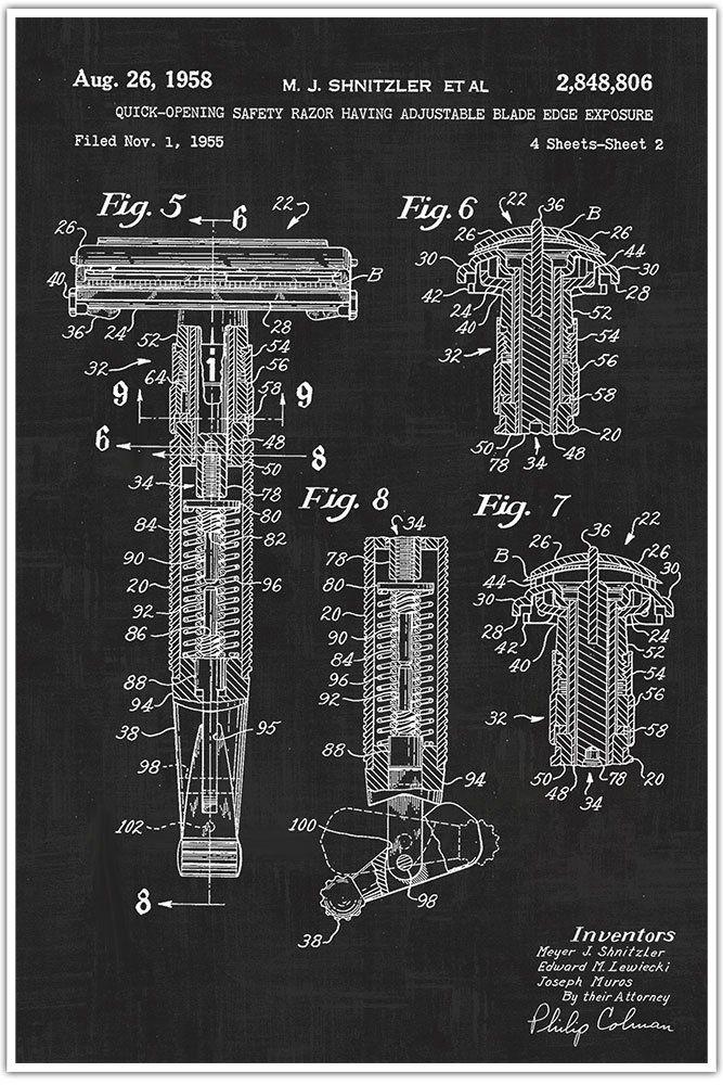Barber Shop, Razor, Blueprint Patent, Patent Poster, Blueprint - fresh blueprint design career