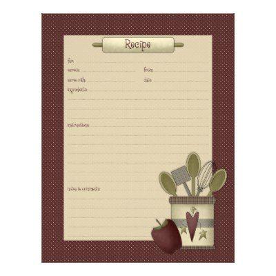 recipe stationery recipe sheet