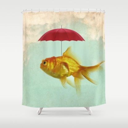 Under Cover Goldfish 02 Shower Curtain With Images Fish Art