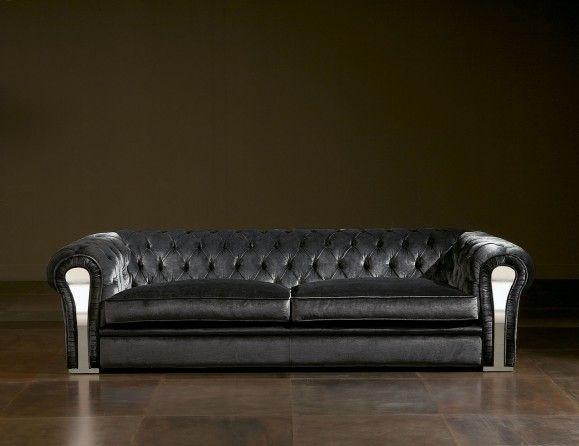 Nella Vetrina Luxury Italian Sofa Upholstered In Black Leather