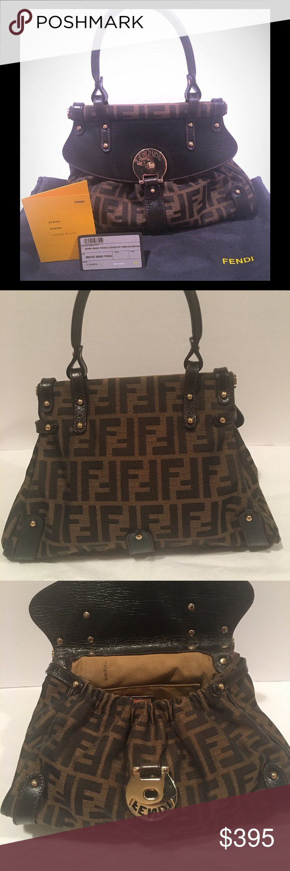 2a81c55f02 💯Auth Fendi Zucca Magic Small Satchel Bag Brown Authentic Fendi magic bag  in Great pre-owned condition. The metal turn lock has very minor scuffs but  there ...