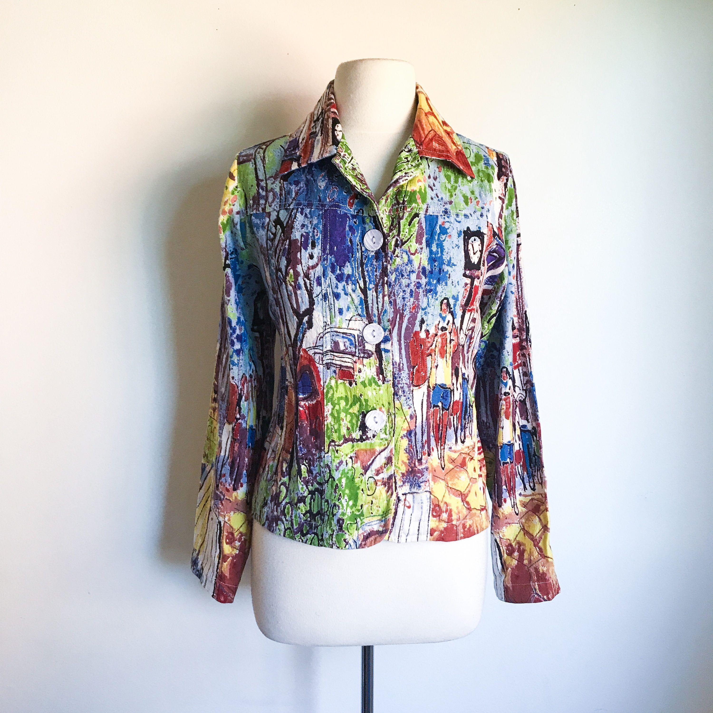 Micheal leu summer jacket contemporary art print jacket