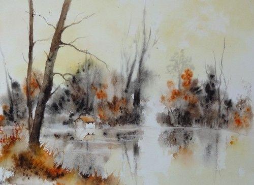 Aquarelle paysage abby arbres sous bois for t automne aquarelles pinterest for t - Paysage enneige dessin ...