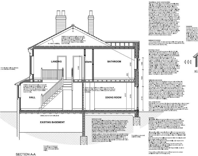 construction section drawing of a house with pitched roof and dormer