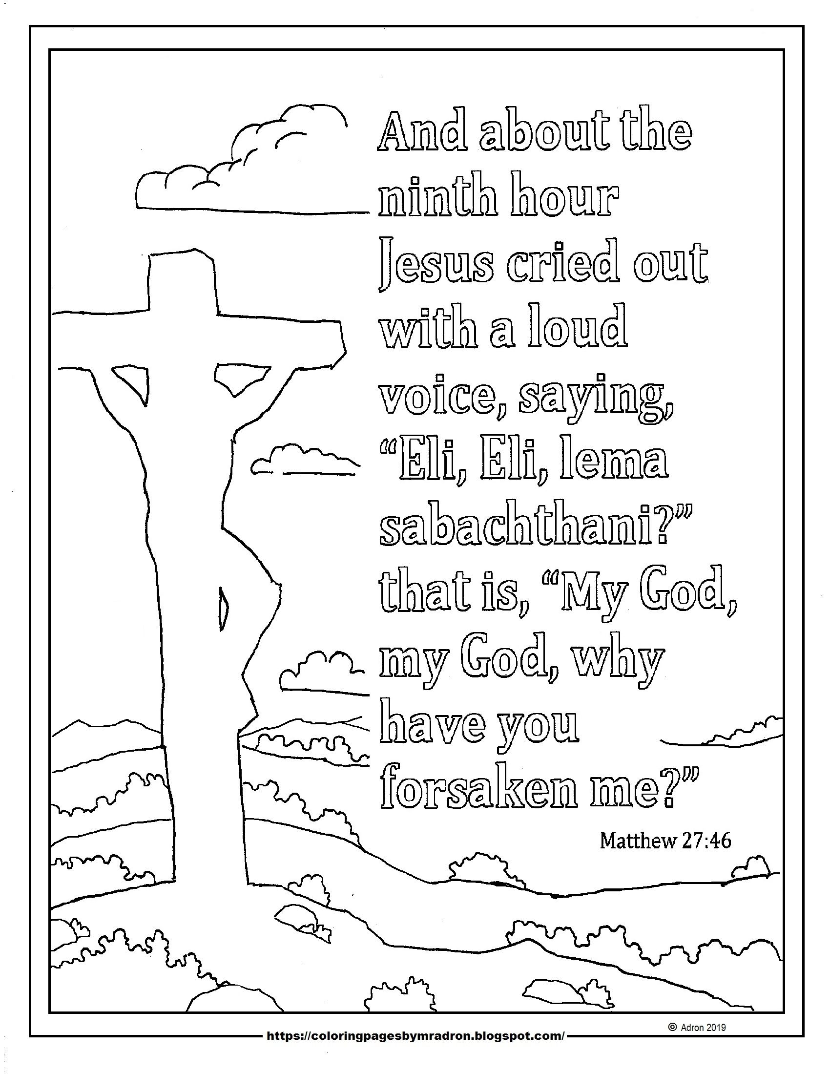 Words Of Christ From The Cross Easter Coloring Page With Matthew