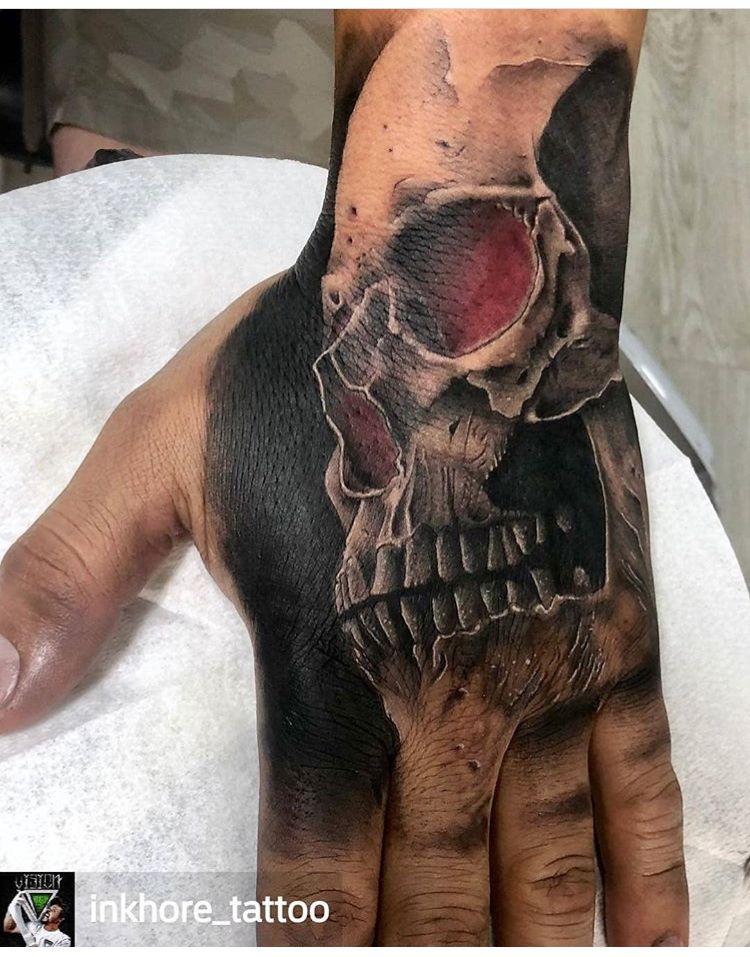 41b7a6ed6 Skull Hand Tattoo, Skull Tattoo Design, Tribal Tattoo Designs, Tattoo  Sleeve Designs,