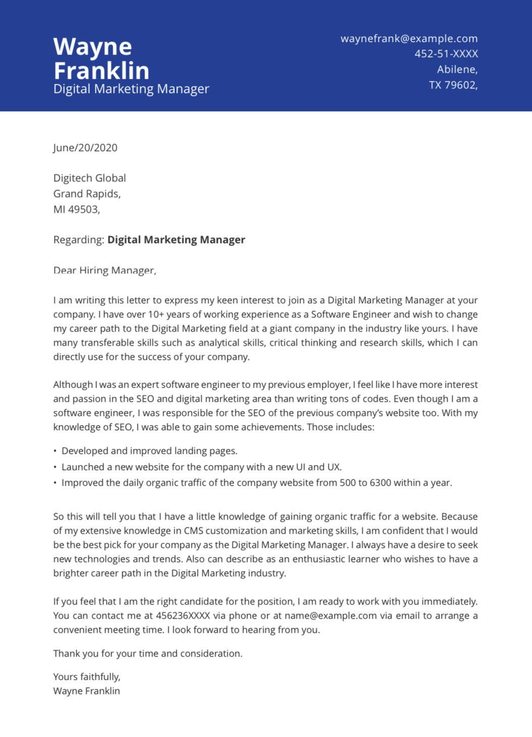 Pin On Cover Letter Templates Design