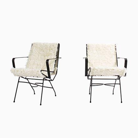 Metall Armlehnstühle mit Wollbezug, 1930, 2er Set Jetzt bestellen - esszimmer 1930