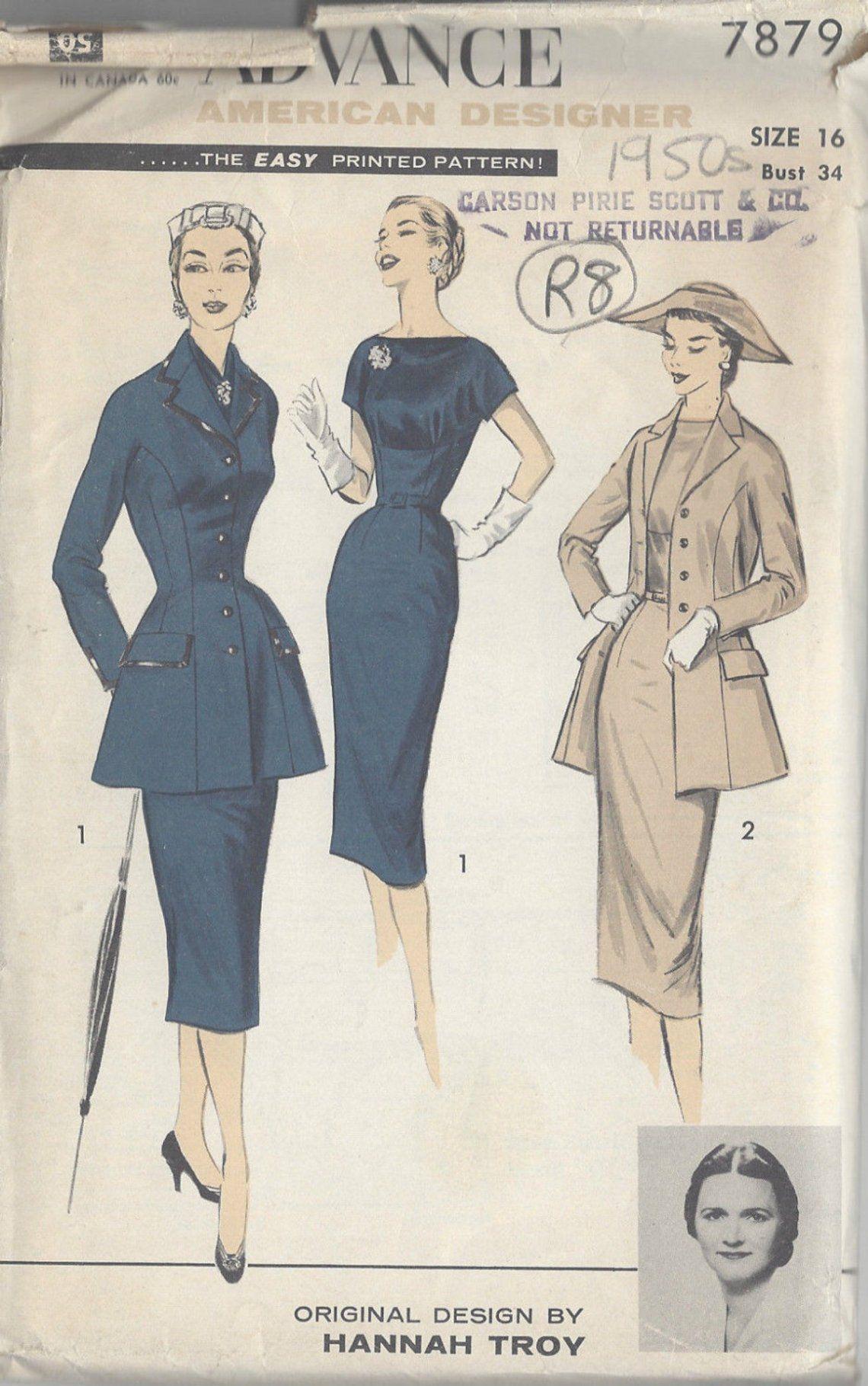 S Vintage Sewing Pattern B34 Jacket Dress Amp Scarf