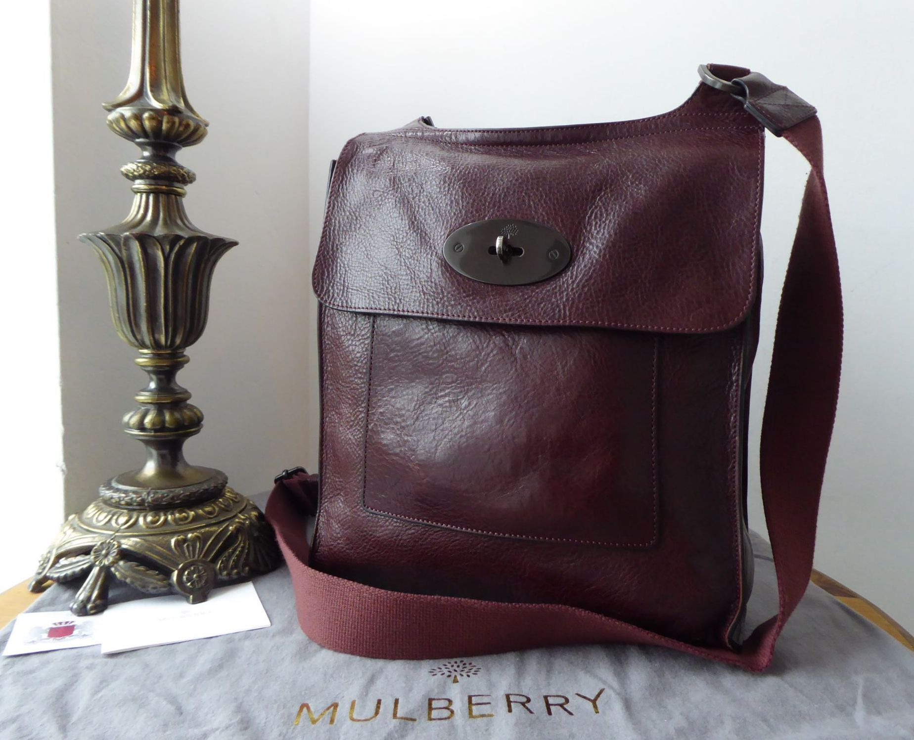 Mulberry Antony Larger Sized Messenger in Oxblood Natural