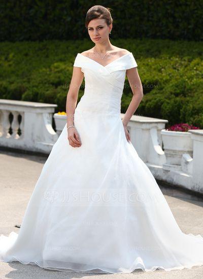bd4f9f2e4344 [Kr 1 693] Balklänning Off-shoulder Ringning Court släp Organzapåse  Bröllopsklänning med Rufsar Pärlbrodering