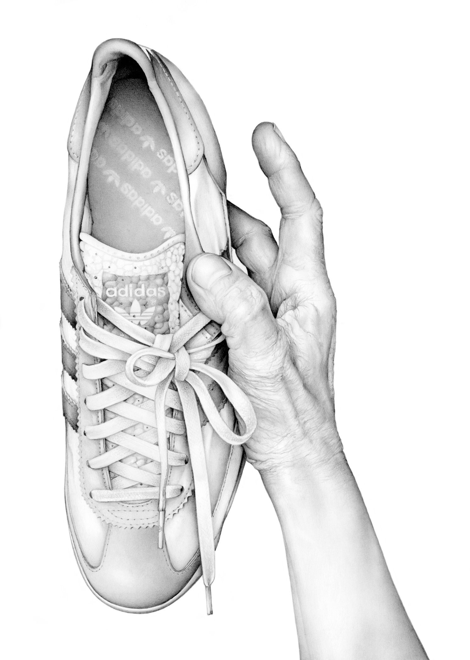 Hand holding adidas trainer cath riley debut art