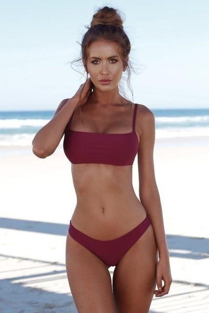 998000da8b03a 2018 New Summer Women Solid Bikini Set Push-up Unpadded Bra Swimsuit  Swimwear Triangle Bather Suit Swimming Suit biquini