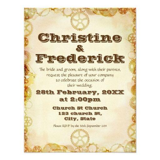 Steampunk Wedding 425x55 Invitation Pinterest Steampunk Wedding