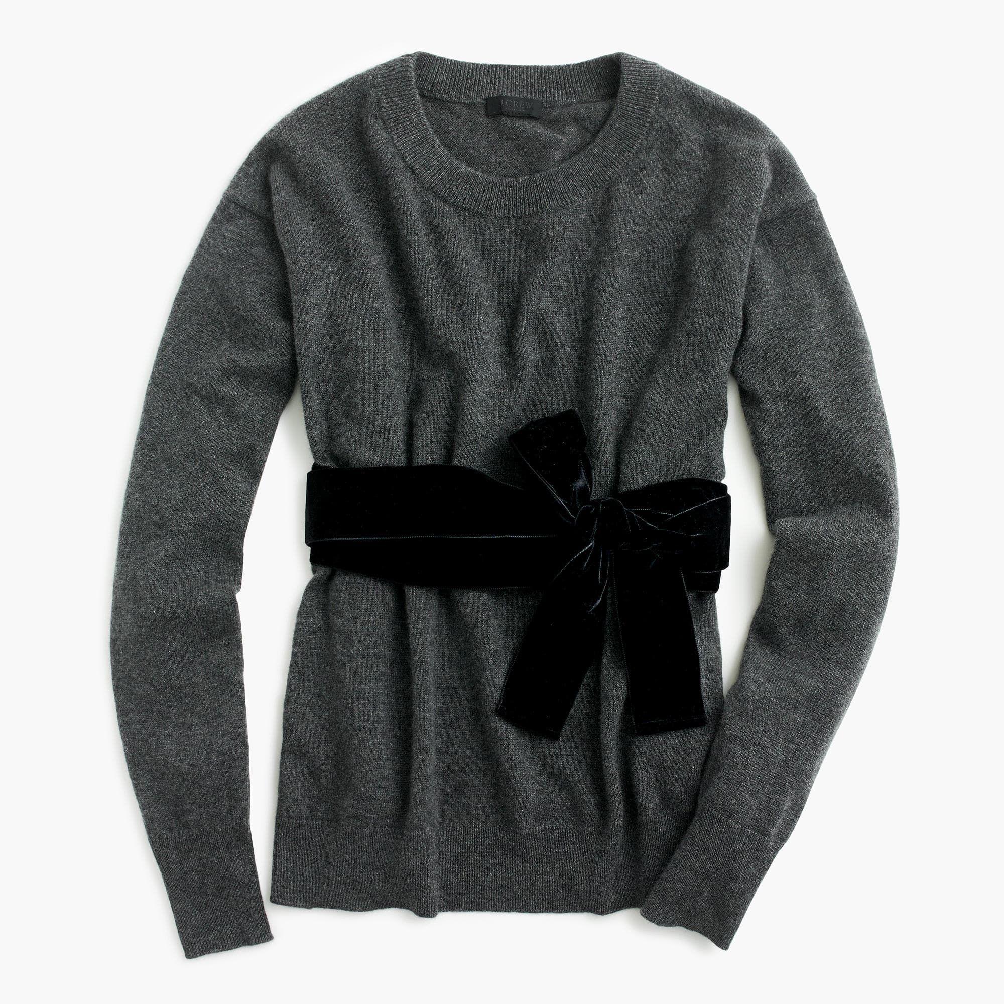 J.Crew Womens Crewneck Sweater With Velvet Sash In Everyday ...