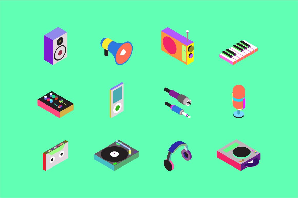 Minimalistic Isometric Audio Icons Digitanza Isometric Minimalist Drawing Isometric Design