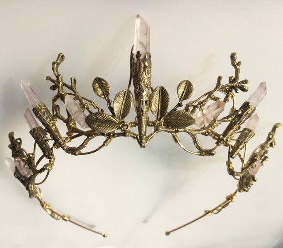 The INDIE ROSE Crown - Pale Pink Quartz and Leaf Crystal Crown Tiara - Bridal, Ritual, Headdress, Festival, Halloween, Prom
