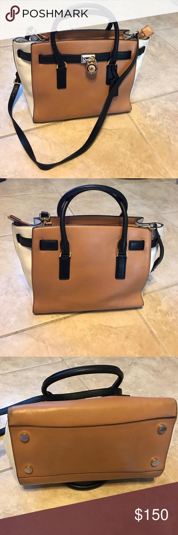 ec49b83d84f2 Michael Kors Hamilton Traveler Colorblock Purse Michael Kors Hamilton  Colorblock Messenger Bag. Leather Tan,
