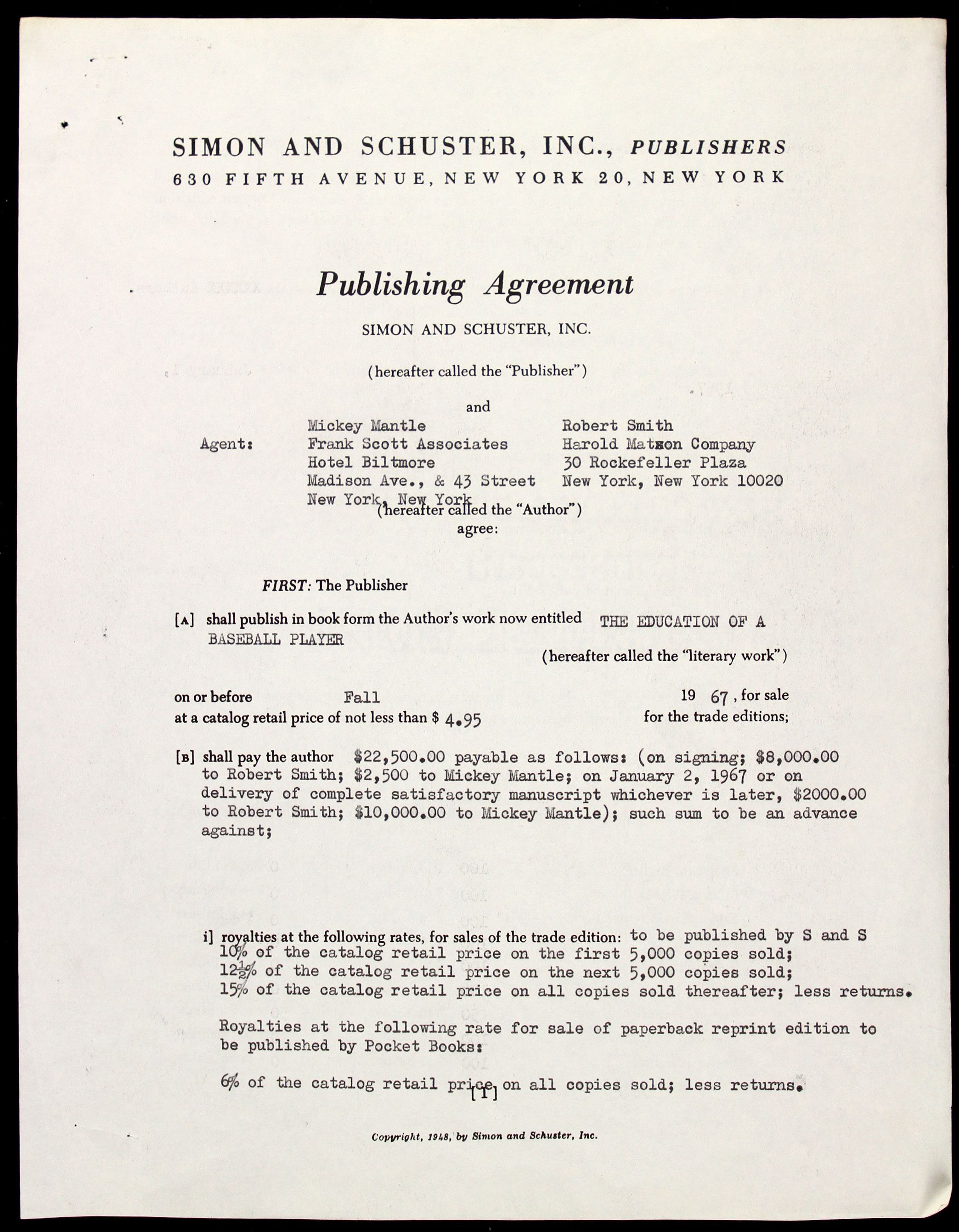 Mickey MantleS Book Publishing Agreement  Old Publishing