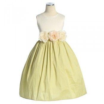 Sweet Kids Girls Ivory Sage Floral Easter Flower Girl Dress 6M-12