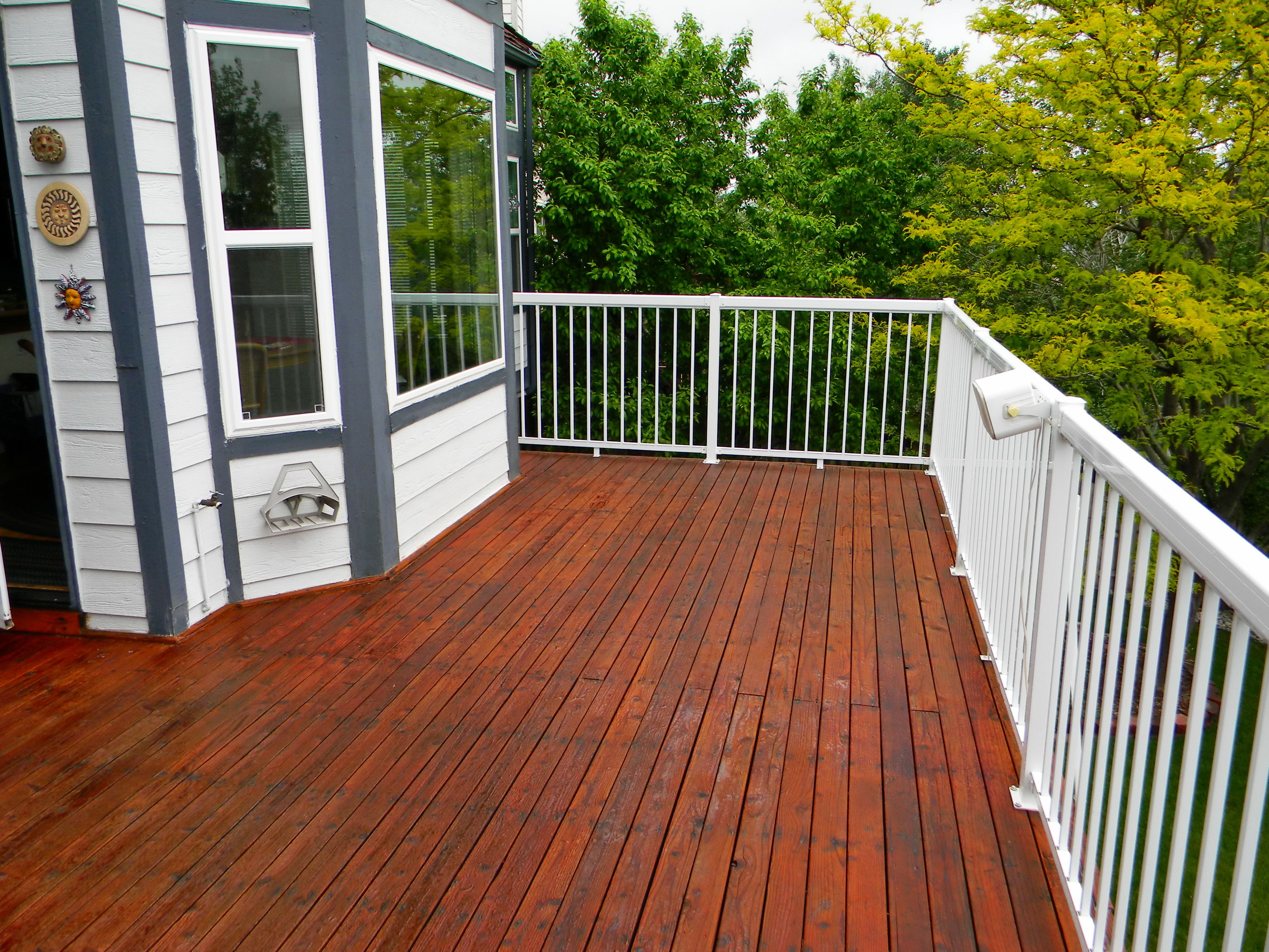 Refinished deck stained with ready seal mahogany our for Garden decking varnish