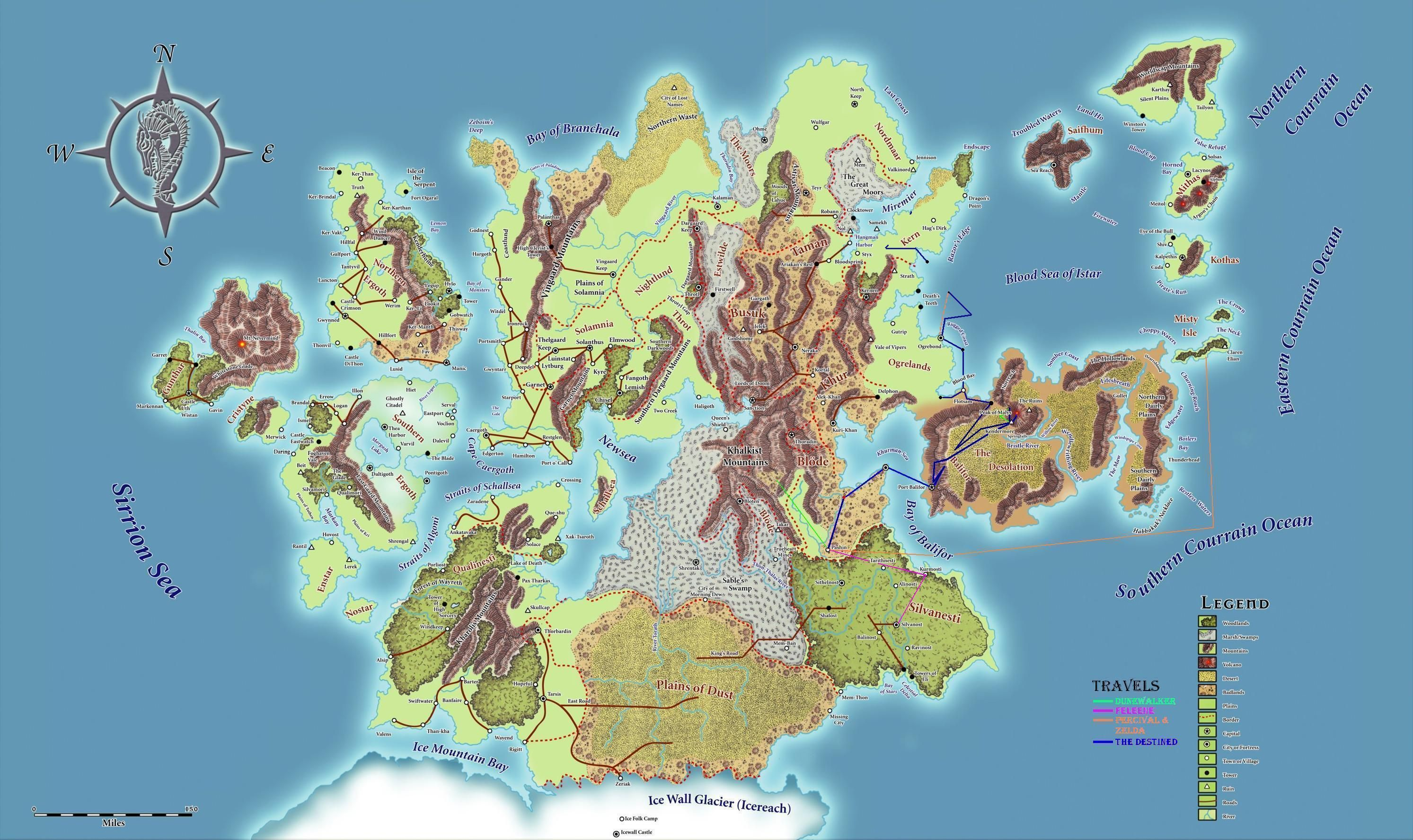 Best map of continent Ansalon on the D world Krynn that I've found D World Map on