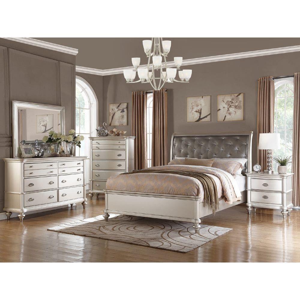 Virgil Upholstered Tufted Queen Bed By Christopher Knight Home Silver Bedroom King Bedroom Sets Bedroom Sets