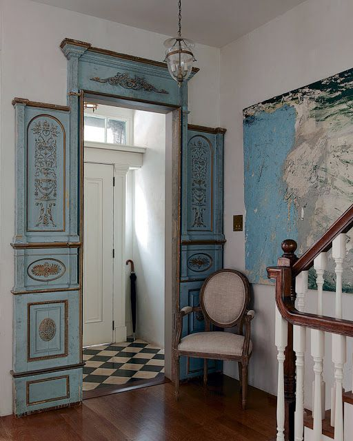 ... Olatz Schnabel . entry with black \u0026 white checkered floor set against mahogany floor/stair rail and intricate blue and gold carved French door frame. & Olatz Interiors   Interiors   Pinterest   Interiors and Doors